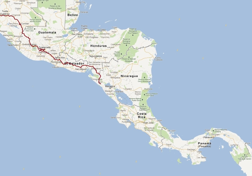 centroamerica map route 7Dec